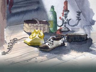 Aquarell-Malreise, voller Fantasie im Farbrausch durch den November in Ribbeck
