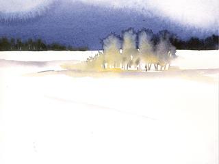 Aquarell-Malreise, Winterlandschaften in Ribbeck im Januar