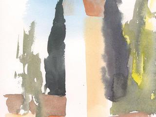 Aquarell Malreise - Landschaft, Häuser, Perspektive in Ribbeck im Juni