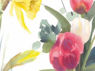 Aquarell-Malreise - Frühlingsblumen, Wolken in Ribbeck im März